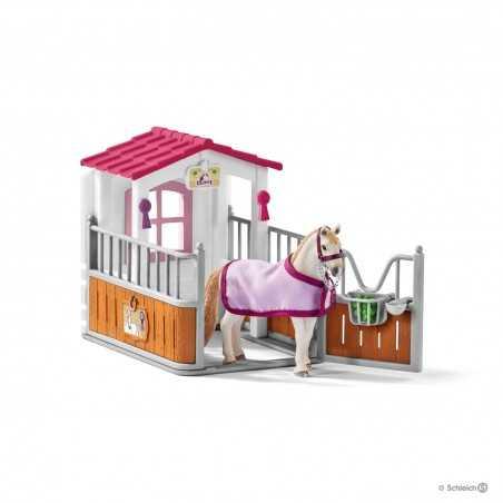 Set BOX CON GIUMENTA LUSITANA cavalli SCHLEICH kit gioco HORSE CLUB 42368 miniature in resina 5+