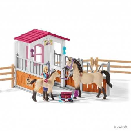 Set BOX CAVALLI ARABI + ADDETTA CURA ANIMALI kit gioco SCHLEICH miniature in resina HORSE CLUB 42369 età 5+
