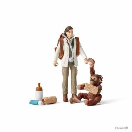 Set VETERINARIA AL LAVORO kit gioco SCHLEICH miniature in resina WILD LIFE jungle 42353 età 3+