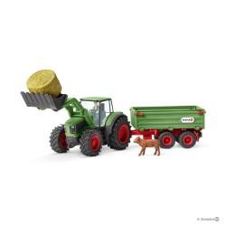 Set TRATTORE CON RIMORCHIO gioco SCHLEICH miniature in resina FARM WORLD kit fattoria 42379 età 3+