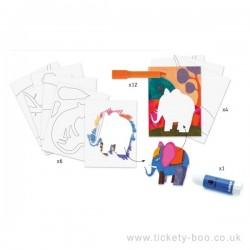 PASTELLI GEL animali selvatici WILD THINGS kit artistico DJECO 4 tavole DJ08617 con strumenti 8+
