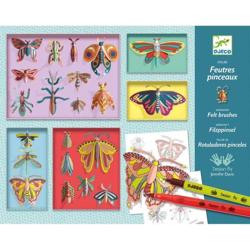 PENNARELLI CON PUNTA A PENNELLO farfalle CAMERA DELLE MERAVIGLIE kit artistico DJECO workshop DJ08619 feltro 8+