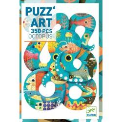 Puzzle PUZZ'ART gioco OCTOPUS 350 pezzi POLIPO Djeco DJ06751 cartone SAGOMATO età 7+