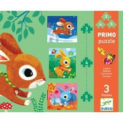 PRIMO PUZZLE Djeco CONIGLIETTI 3 puzzles DJ07140 conigli 3 4 E 5 PEZZI età 2+