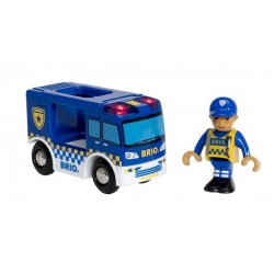 FURGONE DELLA POLIZIA con lampeggianti e sirene BRIO treni in legno 33825 police van 3+