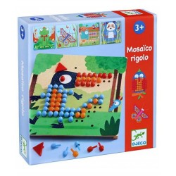 MOSAICO RIGOLO kit artistico 8 TAVOLE gioco DJ08136 pedine colorate DJECO età 3+