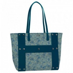 FASHION BAG reversibile BORSA buclè HOY shoulder CON MANICI e tracolla SEVEN double face BLU