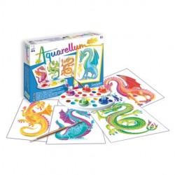 AQUARELLUM JUNIOR SentoSphere DRAGHI kit creativo artistico da 7 anni con colori e pennello
