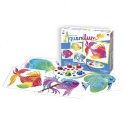 AQUARELLUM JUNIOR SentoSphere PESCI kit creativo artistico da 5 anni con colori e pennello
