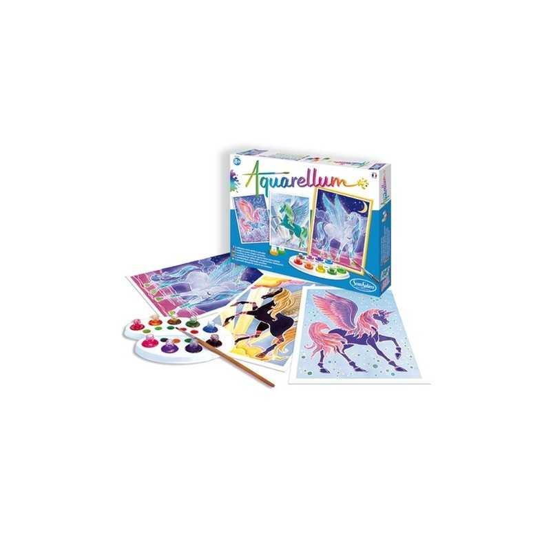 AQUARELLUM SentoSphere PEGASI kit creativo artistico da 8 anni con colori e pennello