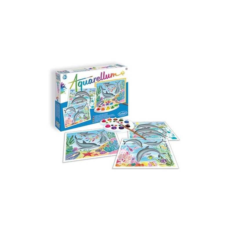 AQUARELLUM SentoSphere DELFINI kit creativo artistico da 8 anni con colori e pennello