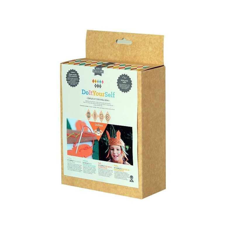 SET CUCITO INDIANO kit artistico CAPPELLO ago in plastica COPRICAPO completo APUNT nativi DIY età 5+