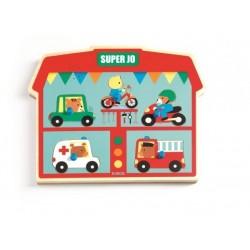 PUZZLE SONORO in legno SUPER JO mezzi di trasporto DJ01709 suoni DJECO incastri 12 MESI +