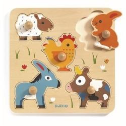 PUZZLE in legno HIHAN & CO pomelli grandi DJECO animali fattoria DJ01016 incastro 12 MESI +