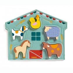 PUZZLE in legno MOWY con base in stoffa DJECO animali fattoria DJ01055 non fa rumore 12 MESI +