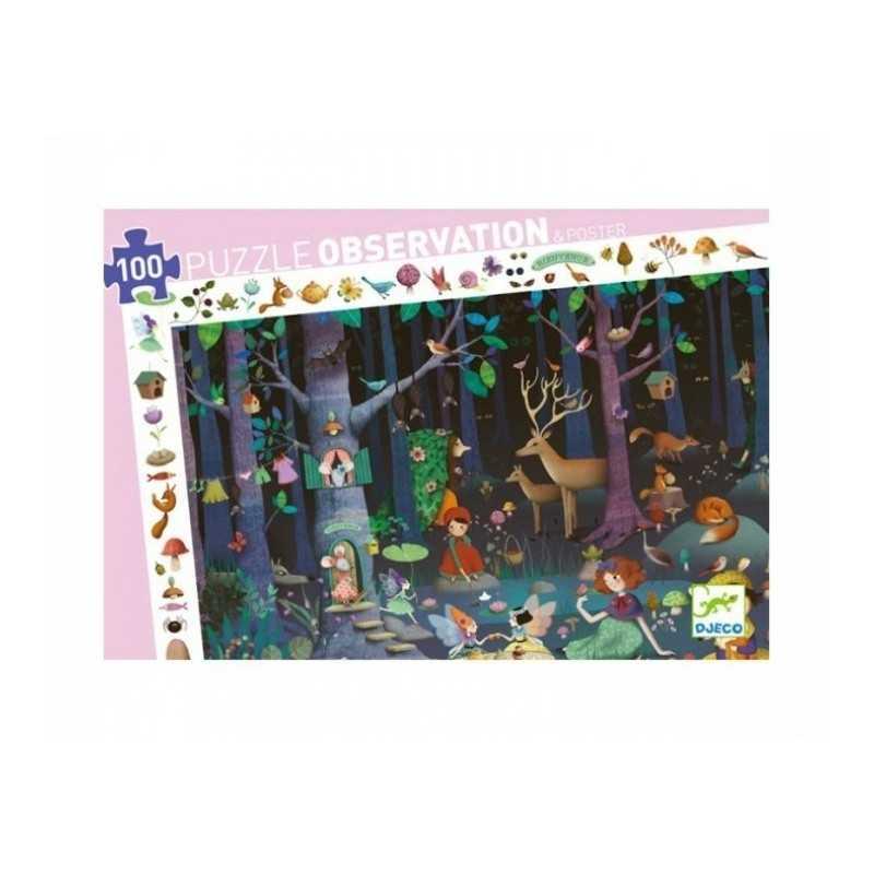 Puzzle scoperta OBSERVATION foresta incantata 100 PEZZI grandi FORET ENCHANTEE con poster 5+