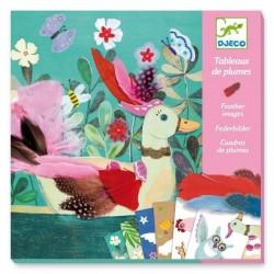 COLLAGE quadri con piume CHIC piumini UCCELLI kit artistico DJECO creativo DJ09405 età 6+