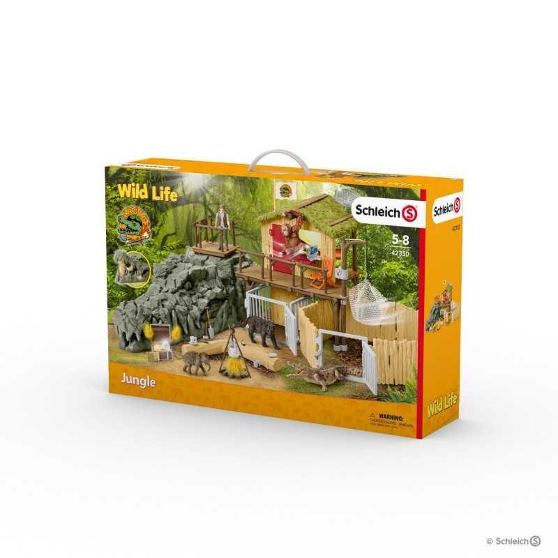 STAZIONE DI RICERCA nella giungla CROCO miniature in resina SCHLEICH wild life 42350 jungle SCENARIO età 5+