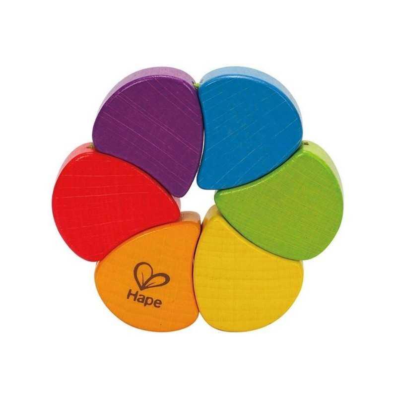 SONAGLIO ARCOBALENO rainbow rattle HAPE gioco in legno COLORATO bebè E0014 da 0 mesi +