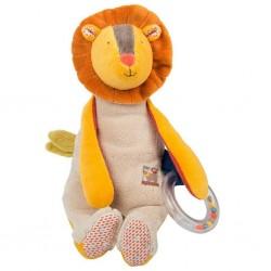 LEONE ATTIVITA' peluche LES PACHATS Moulin Roty MORBIDO lion 658075 doll SONAGLIO inserto tattile sonoro