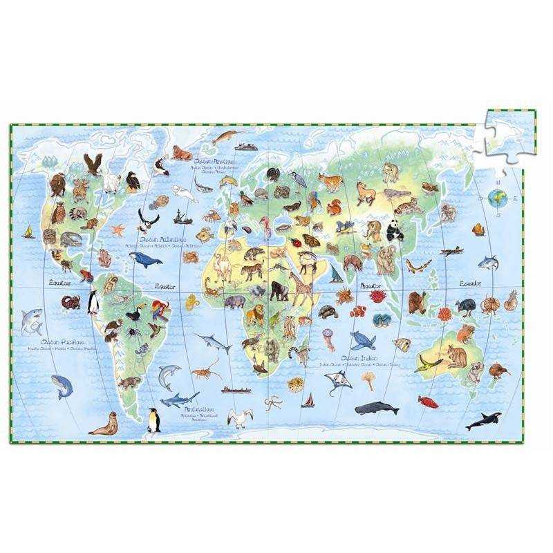"""Puzzle scoperta """"ANIMALI DEL MONDO"""" 100 pz, età 5-7"""