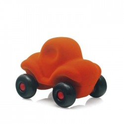 FUNNY CAR ORANGE macchinina morbida ARANCIONE gomma naturale RUBBABU caucciu 100% NATURAL gioco tattile 1+