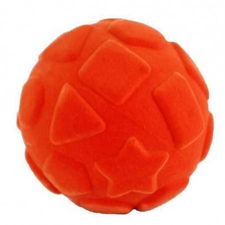 SHAPES BALL palla morbida con le forme ARANCIONE gomma naturale RUBBABU caucciu GIOCO tattile 1+