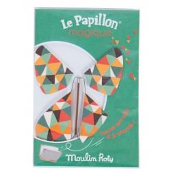 FARFALLA MAGICA le papillon magique VERDE vola MOULIN ROTY metallo e carta 711108 les petites merveilles