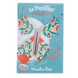 FARFALLA MAGICA le papillon magique AZZURRO vola MOULIN ROTY metallo e carta 711110 les petites merveilles