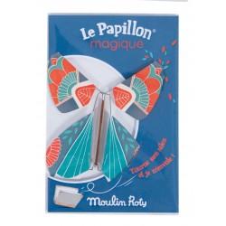 FARFALLA MAGICA le papillon magique BLU vola MOULIN ROTY metallo e carta 711109 les petites merveilles