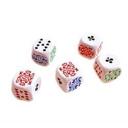 DADI DA POKER set da 5 dadi 18 MM playing dice DAL NEGRO da gioco CLASSICO bianchi