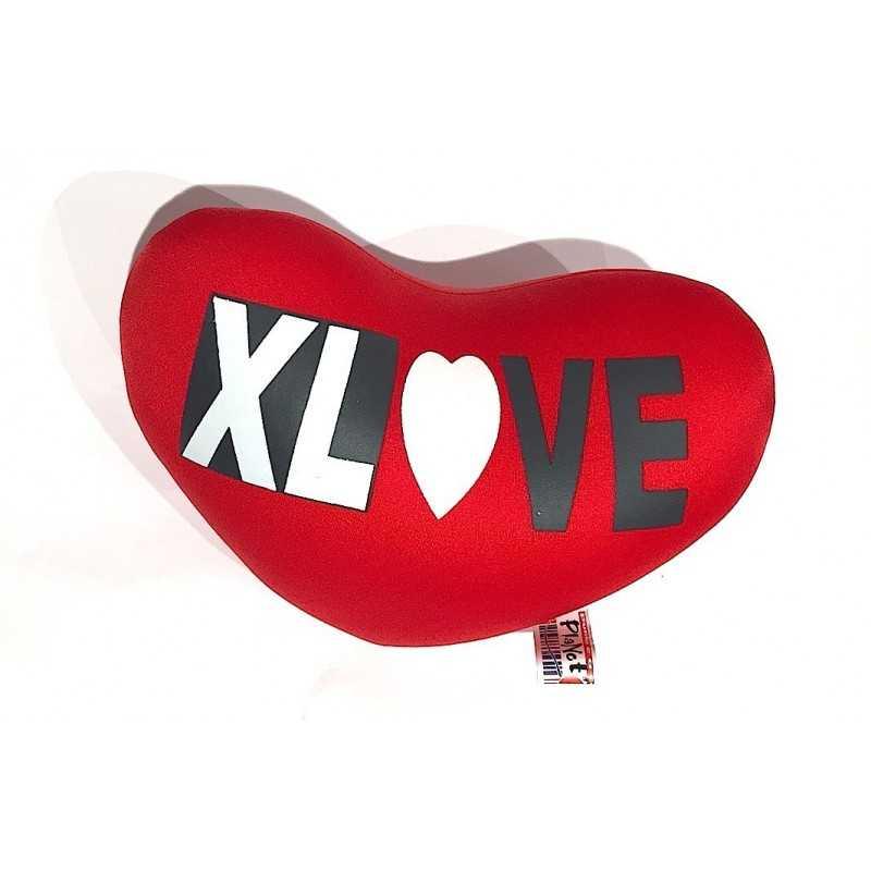 CUSCINO a forma di CUORE morbido ROSSO san valentino XLOVE amore XL LOVE punto e a capo italy