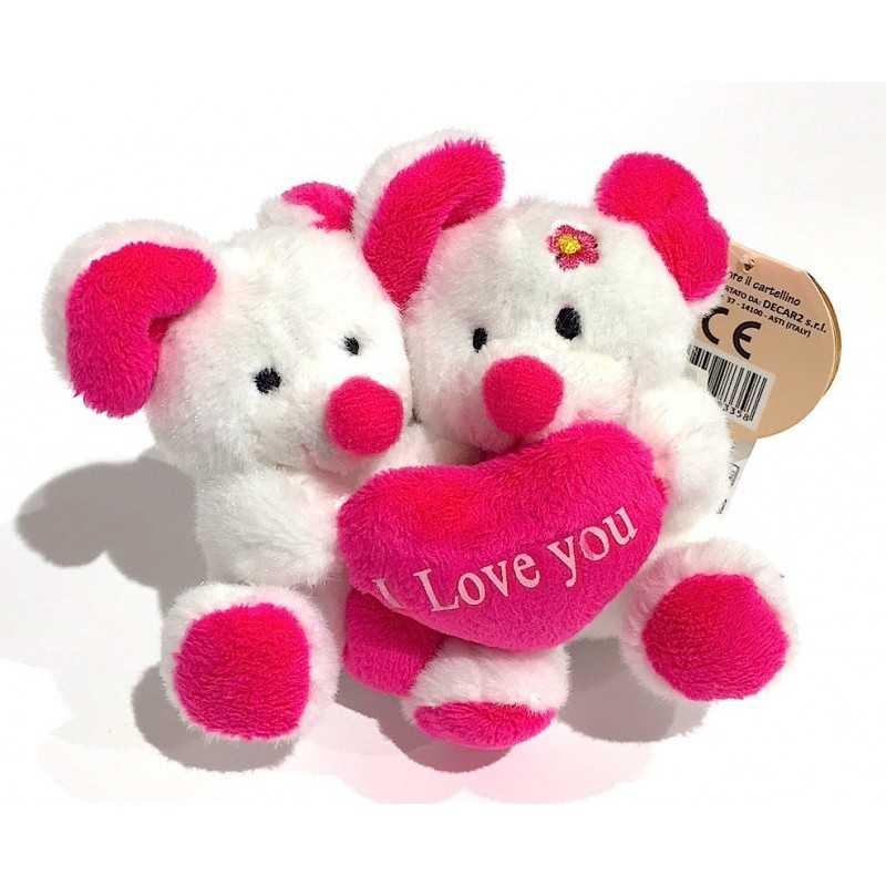 PELUCHE 2 topolini I LOVE YOU bianchi DECAR rosa CUORE san valentino AMORE gadget