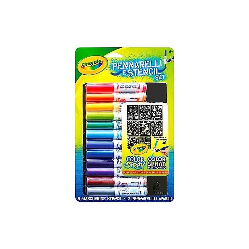 RICARICA Crayola SET boy 12 PENNARELLI LAVABILI + 8 STENCIL color spray COLORI età 6+