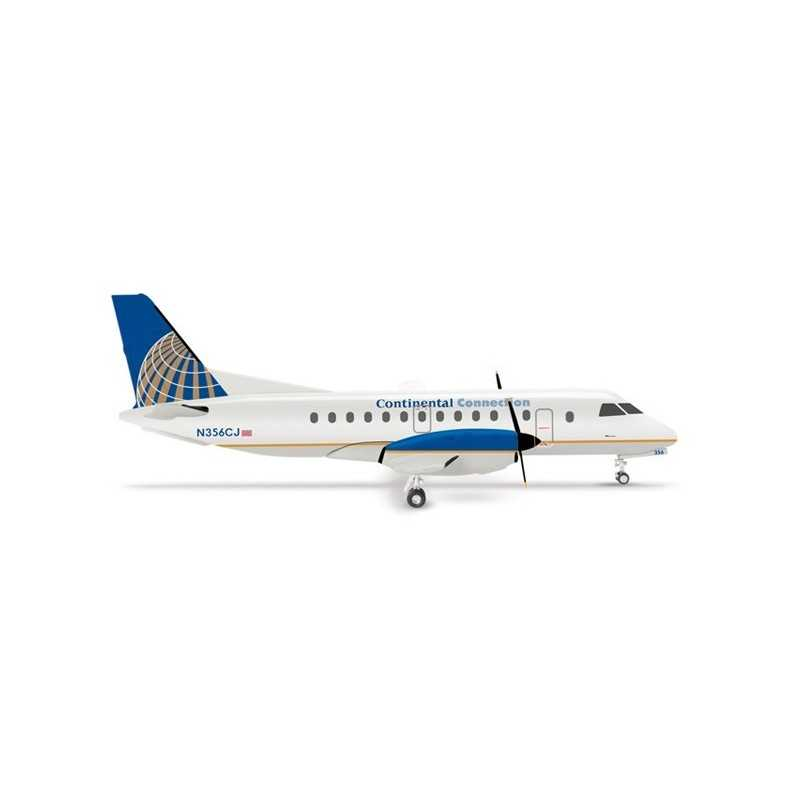 CONTINENTAL CONNECTION SAAB 340 aereo in metallo 553469 modellino HERPA WINGS scala 1:200 plane