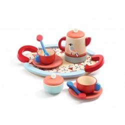 TEA TIME set da tè IN LEGNO the 2 TAZZE 2 piattini 1 VASSOIO 2 cucchiaini 1 TEIERA 1 zuccheriera DJECO gioco DJ06512 età 4+