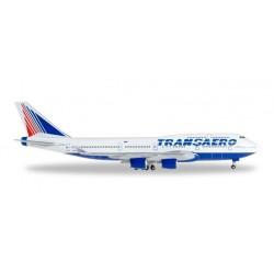 TRANSAERO AIRLINES BOEING 747-400 aereo in metallo 527651 modellino HERPA WINGS scala 1:500