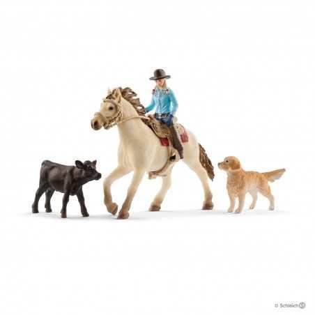 SET EQUITAZIONE AMERICANA animali COWBOY cavallo FARM WORLD kit da gioco SCHLEICH miniature in resina 42419 età 3+