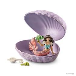 SIRENA CON BABY TARTARUGA IN CONCHIGLIA fantasy BAYALA gioco SCHLEICH miniature in resina 70562 età 3+