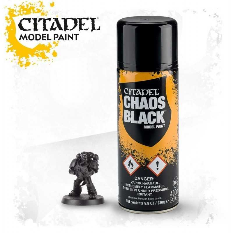 CHAOS BLACK SPRAY nero Citadel model paint base per miniature Games Workshop
