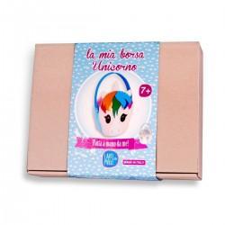 LA MIA BORSA UNICORNO kit artistico LARTE A PARTE made in italy FATTA A MANO DA ME tessuto CUCIRE età 7+
