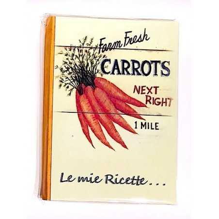 RICETTARIO stampato CAROTE album CARTASTELLA 18 x 25 cm FATTO A MANO carta IN ITALIA hand made