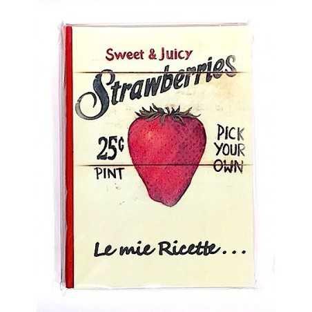 RICETTARIO stampato FRAGOLE album CARTASTELLA 18 x 25 cm FATTO A MANO carta IN ITALIA hand made