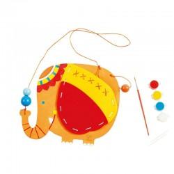 POCHETTE ELEFANTE kit artistico HAPE elephant pouch GIOCO ATTIVITA' da dipingere e cucire HAND CRAFT età 4+