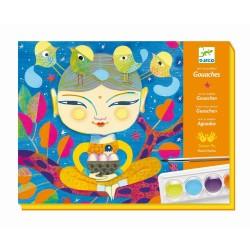 TEMPERE INDIA gouaches DJECO arte al numero DJ08964 kit artistico 4 TAVOLE gioco set CON PENNELLO età 7+