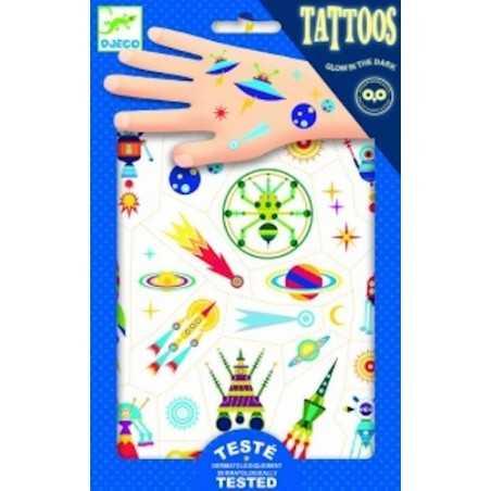 TATTOOS tattoo SPAZIO tatuaggi SPACE ODDITY rimuovibili SI ILLUMINANO AL BUIO unisex DJECO 56 tatuaggi DJ09590 età 3+