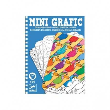 MINI GRAFIC da colorare ANIMALI 30 schede DJECO cartoncino DJ05382 età 8+
