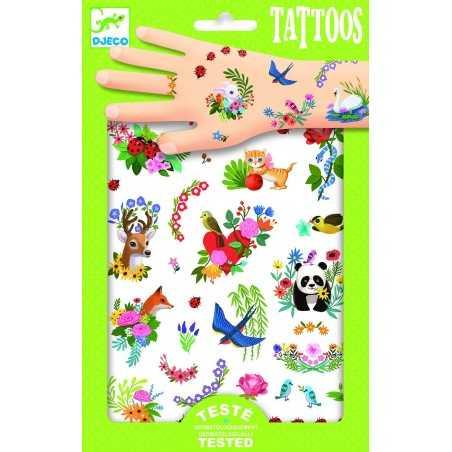 TATTOOS tattoo PRIMAVERA tatuaggi HAPPY SPRING rimuovibili DJECO 72 tatuaggi DJ09591 età 3+