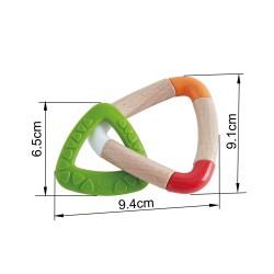 DOUBLE TRIANGLE TEETHER doppio triangolo per la dentizione HAPE gioco in legno e plastica GOMMA SPECIALE bebè E0018 da 0 mesi +
