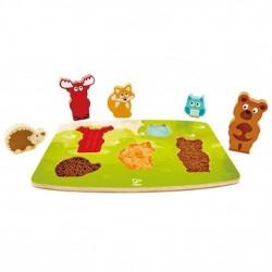 PUZZLE TATTILE ANIMALI DELLA FORESTA forest animal tactile puzzle HAPE gioco in legno E1621 da 24 mesi +